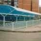 深元厂家直销 玻璃钢架车棚小区自行车雨棚玻璃雨棚阳光板车棚
